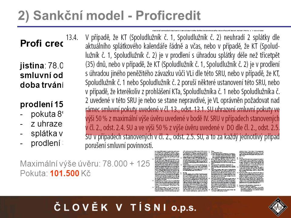2) Sankční model - Proficredit Profi credit – modelový příklad jistina: 78.000 Kč smluvní odměna: 125.000 Kč doba trvání: 4 roky prodlení 15 dní: -pokuta 8% z dlužné splátky -z uhrazené splátky je zaplacena přednostně pokuta -splátka vedena jako neuhrazená -prodlení 30 a následně 35 dní Maximální výše úvěru: 78.000 + 125.000 = 203.000 Kč Pokuta: 101.500 Kč