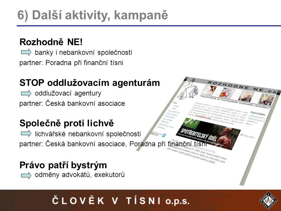 6) Další aktivity, kampaně Rozhodně NE.