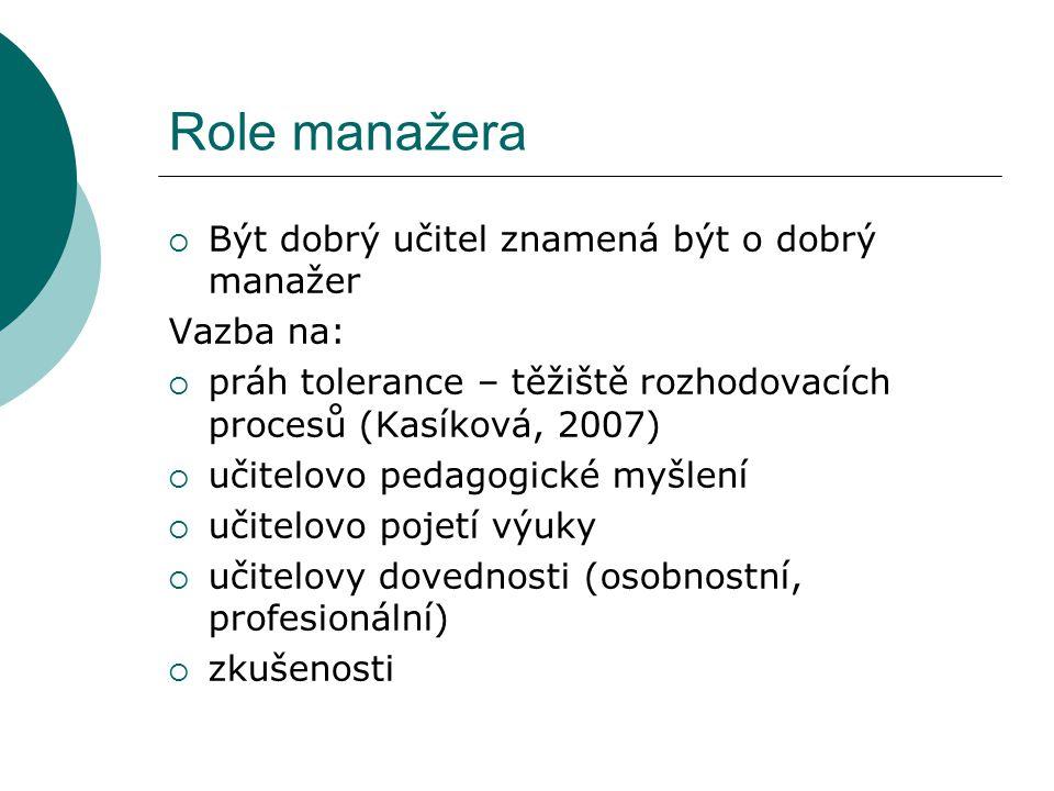 Role manažera  Být dobrý učitel znamená být o dobrý manažer Vazba na:  práh tolerance – těžiště rozhodovacích procesů (Kasíková, 2007)  učitelovo p
