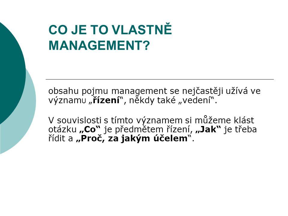 """CO JE TO VLASTNĚ MANAGEMENT? obsahu pojmu management se nejčastěji užívá ve význam U """"řízení"""", někdy také """"vedení"""". V souvislosti s tímto významem si"""