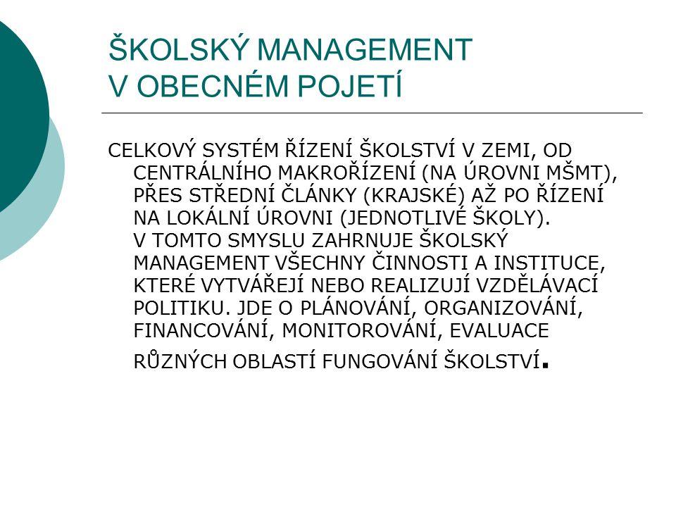 ŠKOLSKÝ MANAGEMENT V OBECNÉM POJETÍ CELKOVÝ SYSTÉM ŘÍZENÍ ŠKOLSTVÍ V ZEMI, OD CENTRÁLNÍHO MAKROŘÍZENÍ (NA ÚROVNI MŠMT), PŘES STŘEDNÍ ČLÁNKY (KRAJSKÉ)
