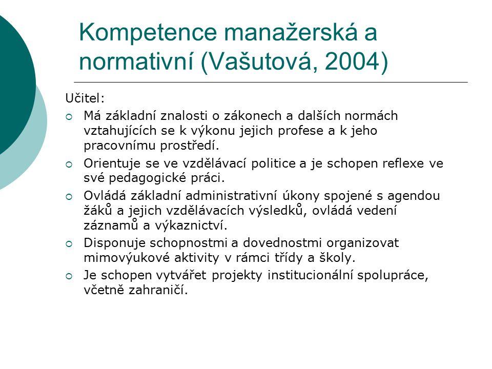 Kompetence manažerská a normativní (Vašutová, 2004) Učitel:  Má základní znalosti o zákonech a dalších normách vztahujících se k výkonu jejich profes