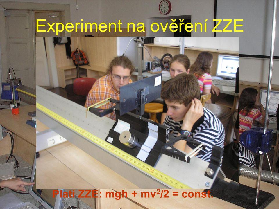 Experiment na ověření ZZE Platí ZZE: mgh + mv 2 /2 = const.