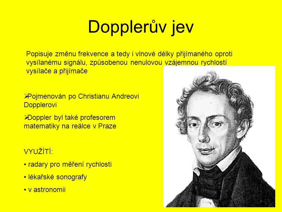 Dopplerův jev  Pojmenován po Christianu Andreovi Dopplerovi  Doppler byl také profesorem matematiky na reálce v Praze VYUŽÍTÍ: radary pro měření ryc