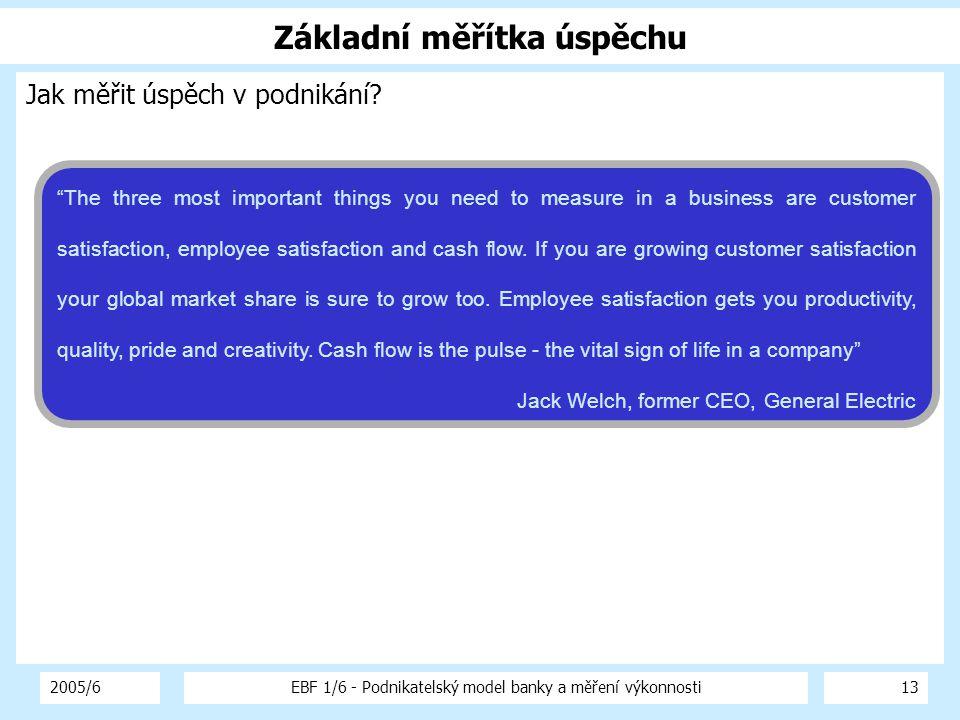 """2005/6EBF 1/6 - Podnikatelský model banky a měření výkonnosti13 Základní měřítka úspěchu Jak měřit úspěch v podnikání? """"The three most important thing"""