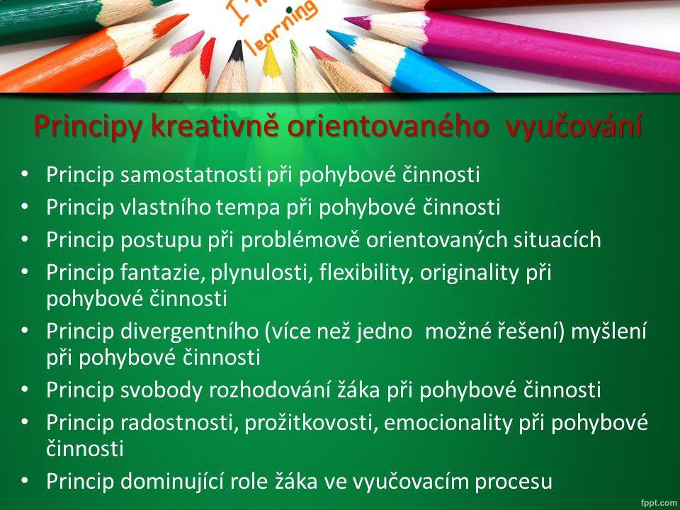 Principy kreativně orientovaného vyučování Princip samostatnosti při pohybové činnosti Princip vlastního tempa při pohybové činnosti Princip postupu p