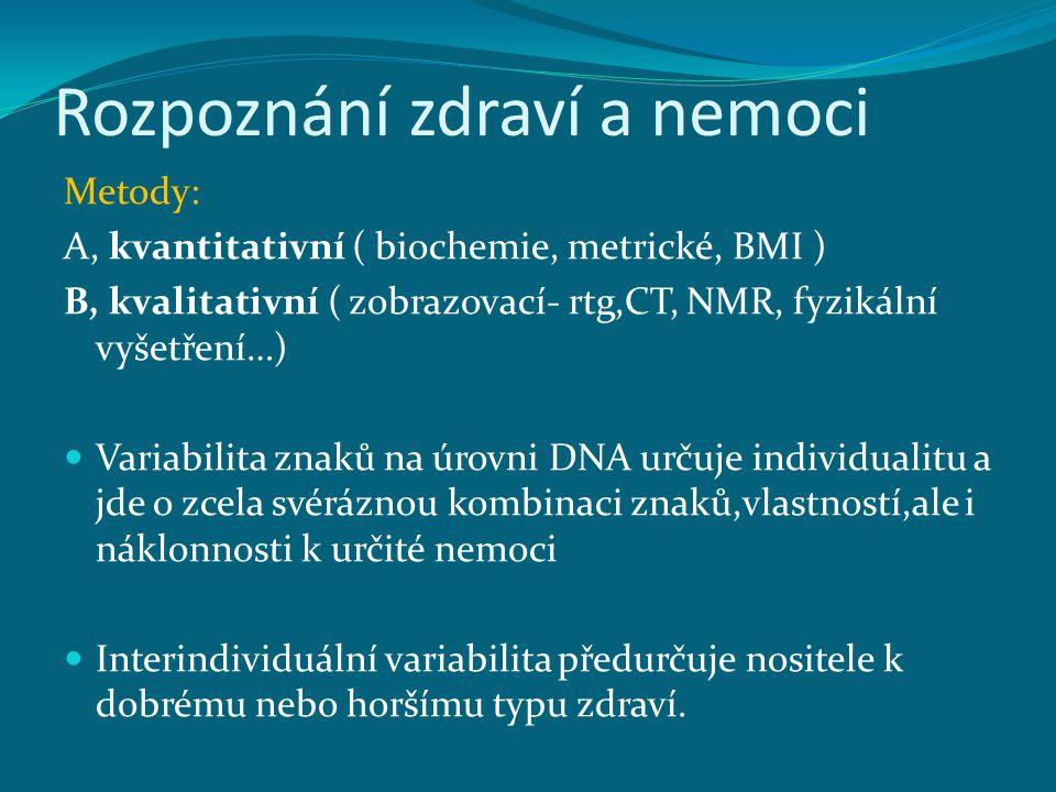 Rozpoznání zdraví a nemoci Metody: A, kvantitativní ( biochemie, metrické, BMI ) B, kvalitativní ( zobrazovací- rtg,CT, NMR, fyzikální vyšetření…) Var