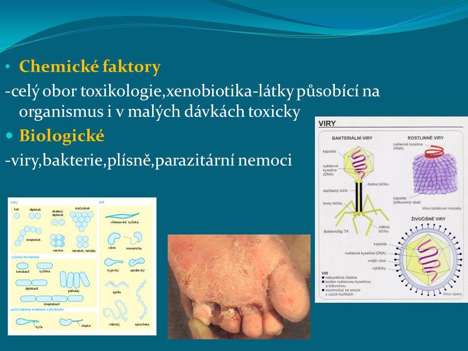 Chemické faktory -celý obor toxikologie,xenobiotika-látky působící na organismus i v malých dávkách toxicky Biologické -viry,bakterie,plísně,parazitár