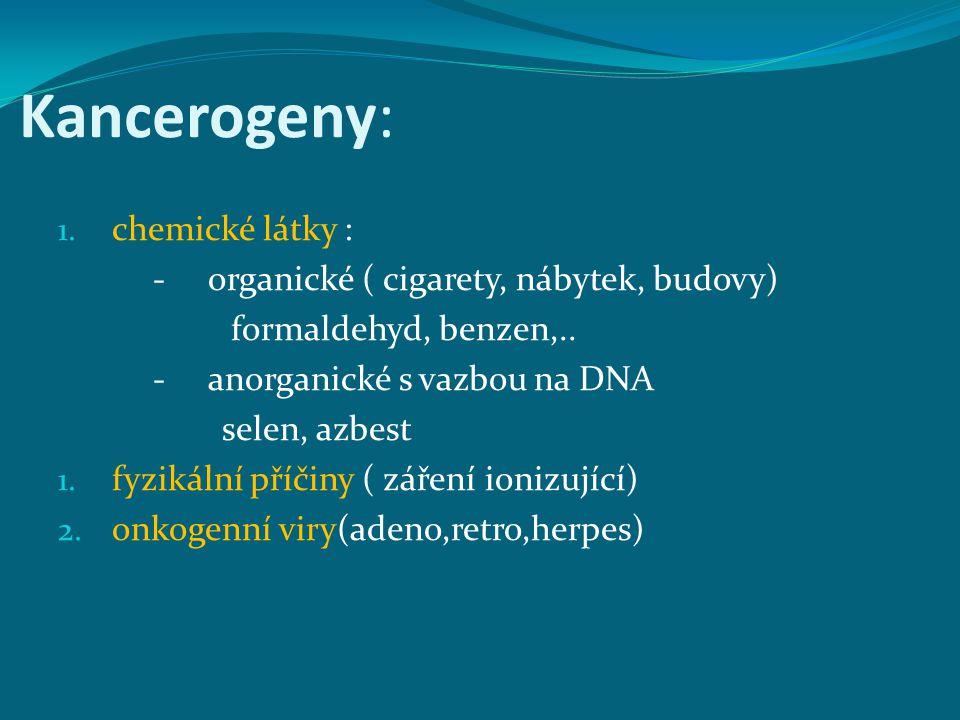 Kancerogeny: 1. chemické látky : - organické ( cigarety, nábytek, budovy) formaldehyd, benzen,.. - anorganické s vazbou na DNA selen, azbest 1. fyziká