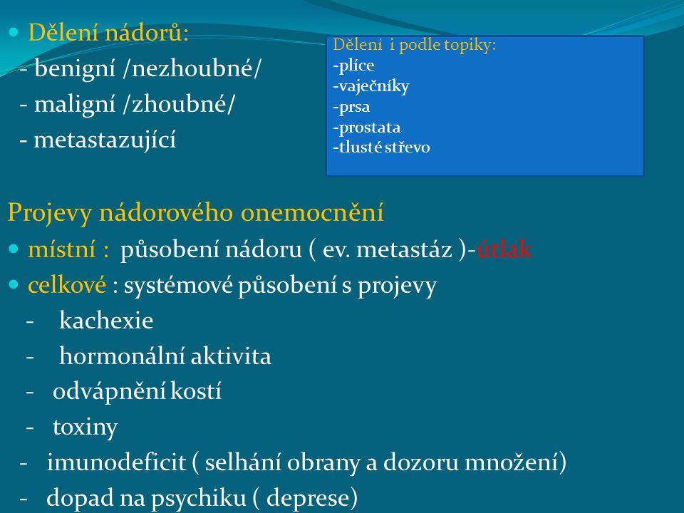 Dělení nádorů: - benigní /nezhoubné/ - maligní /zhoubné/ - metastazující Projevy nádorového onemocnění místní : působení nádoru ( ev. metastáz )-útlak