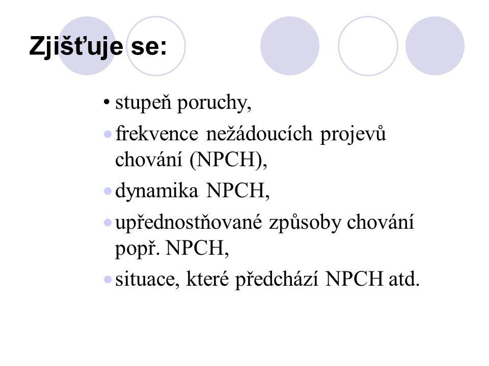 Zjišťuje se: stupeň poruchy,  frekvence nežádoucích projevů chování (NPCH),  dynamika NPCH,  upřednostňované způsoby chování popř. NPCH,  situace,