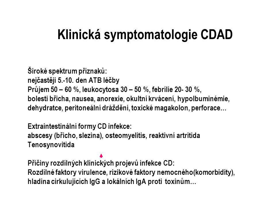 Klinická symptomatologie CDAD Široké spektrum příznaků: nejčastěji 5.-10. den ATB léčby Průjem 50 – 60 %, leukocytosa 30 – 50 %, febrílie 20- 30 %, bo
