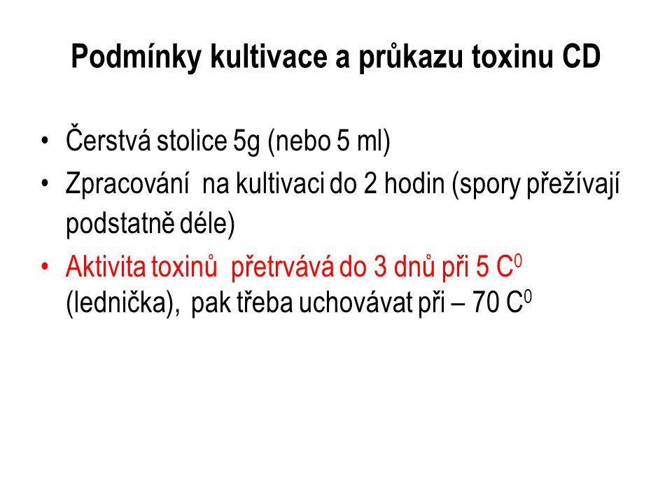 Podmínky kultivace a průkazu toxinu CD Čerstvá stolice 5g (nebo 5 ml) Zpracování na kultivaci do 2 hodin (spory přežívají podstatně déle) Aktivita tox