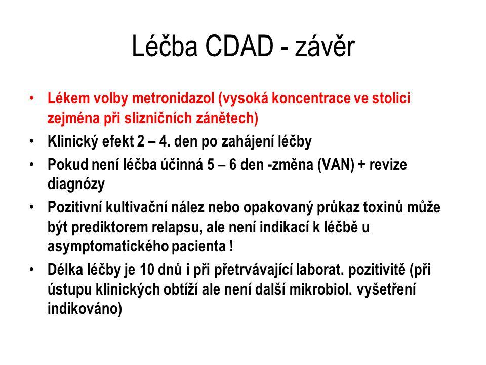 Léčba CDAD - závěr Lékem volby metronidazol (vysoká koncentrace ve stolici zejména při slizničních zánětech) Klinický efekt 2 – 4. den po zahájení léč