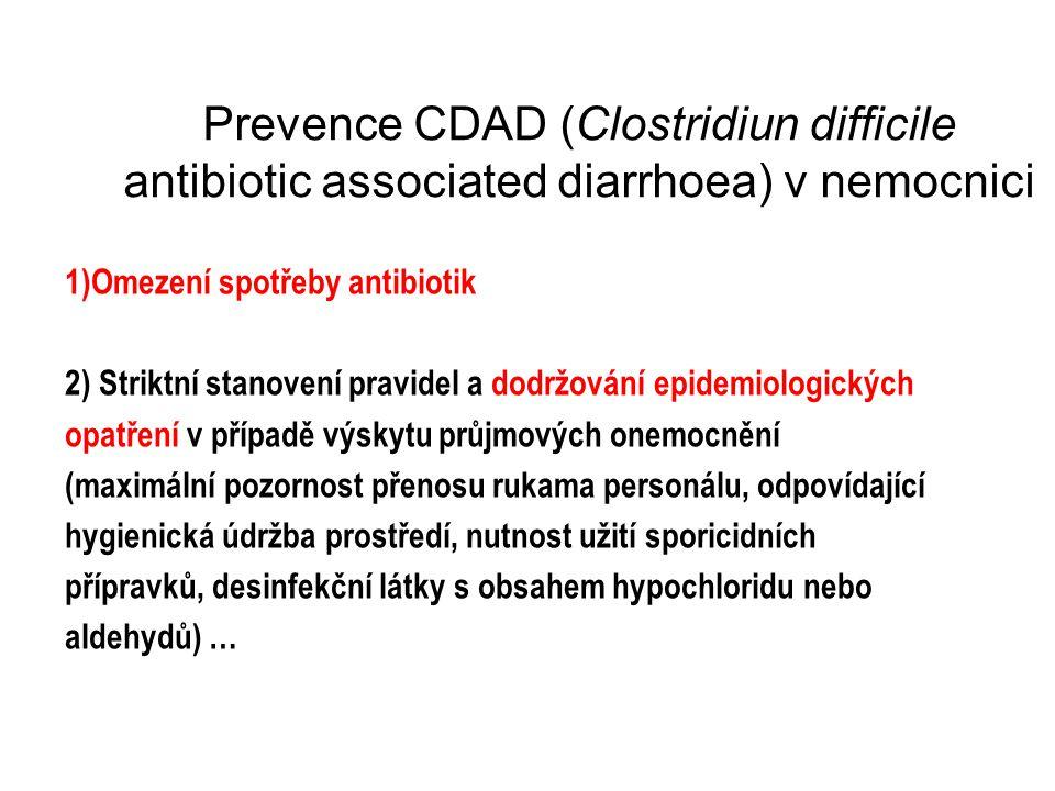 Prevence CDAD (Clostridiun difficile antibiotic associated diarrhoea) v nemocnici 1)Omezení spotřeby antibiotik 2) Striktní stanovení pravidel a dodrž