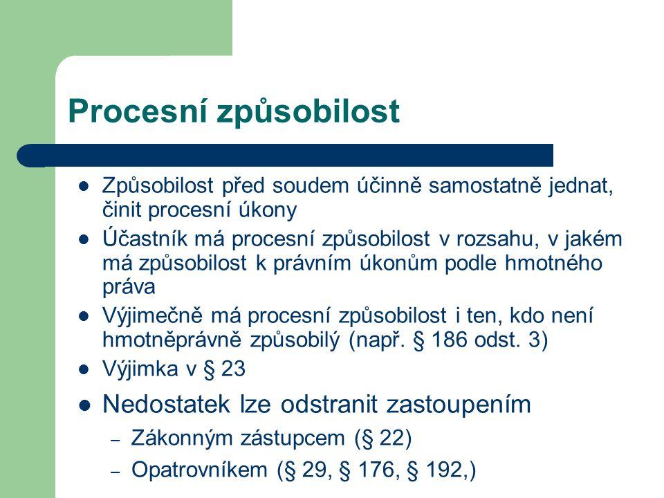 Procesní způsobilost Způsobilost před soudem účinně samostatně jednat, činit procesní úkony Účastník má procesní způsobilost v rozsahu, v jakém má způ