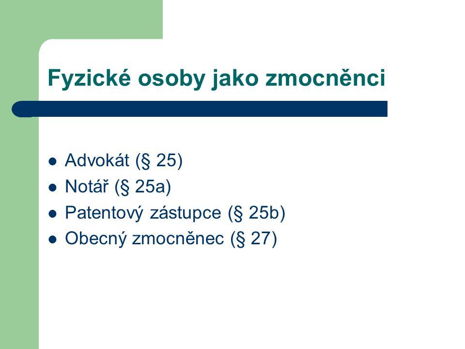 Fyzické osoby jako zmocněnci Advokát (§ 25) Notář (§ 25a) Patentový zástupce (§ 25b) Obecný zmocněnec (§ 27)