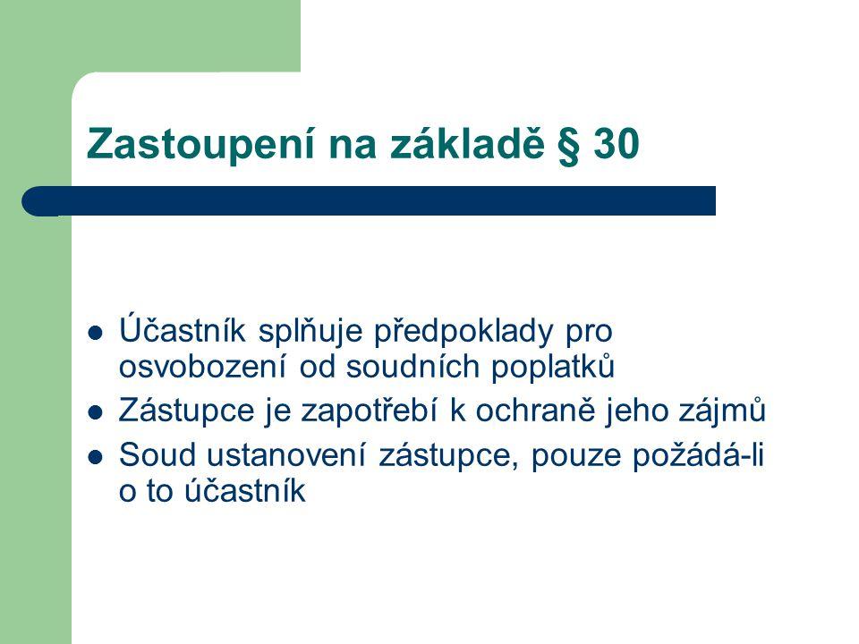 Zastoupení na základě § 30 Účastník splňuje předpoklady pro osvobození od soudních poplatků Zástupce je zapotřebí k ochraně jeho zájmů Soud ustanovení