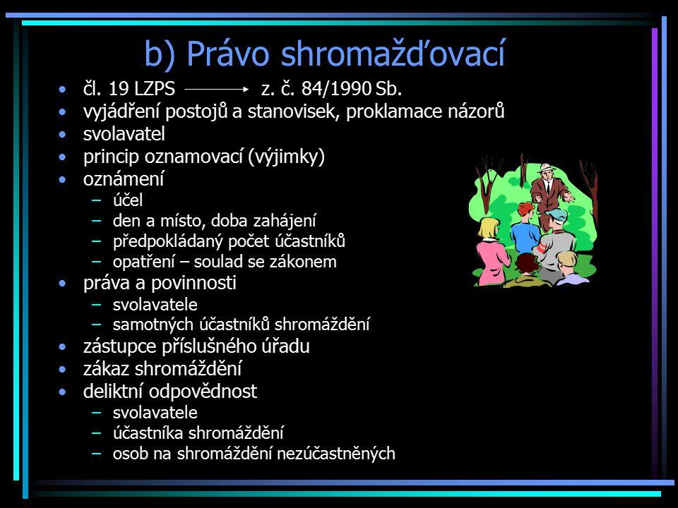 b) Právo shromažďovací čl.19 LZPS z. č. 84/1990 Sb.