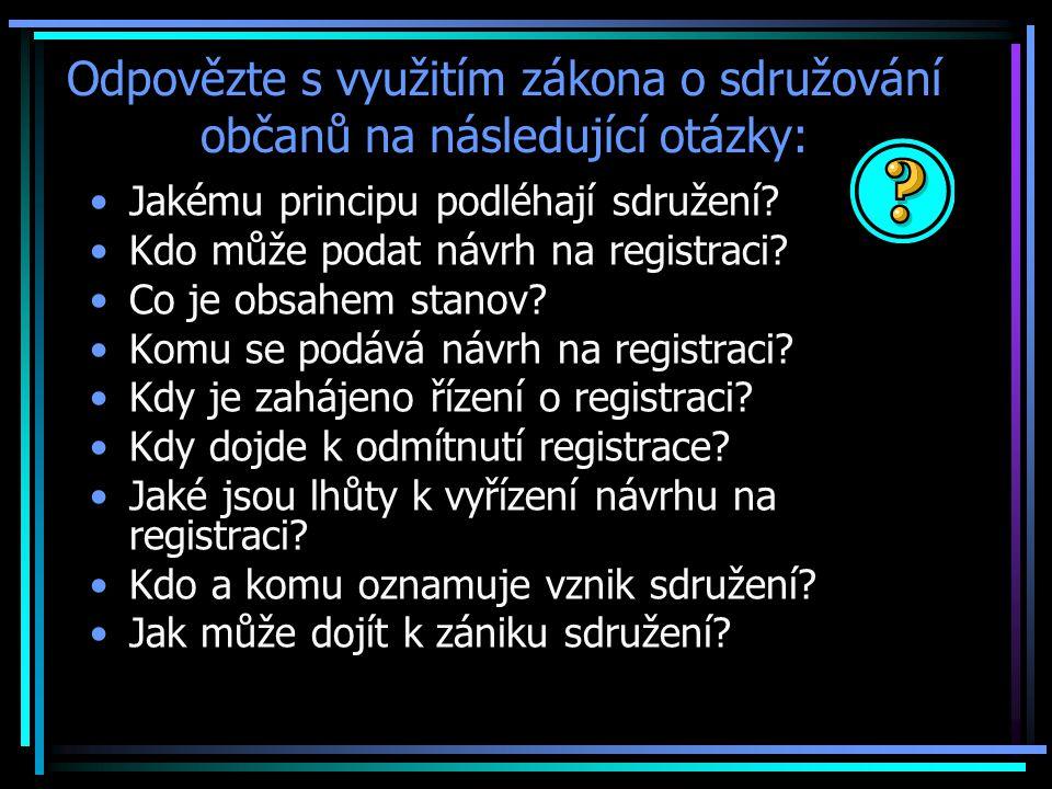 Odpovězte s využitím zákona o sdružování občanů na následující otázky: Jakému principu podléhají sdružení.