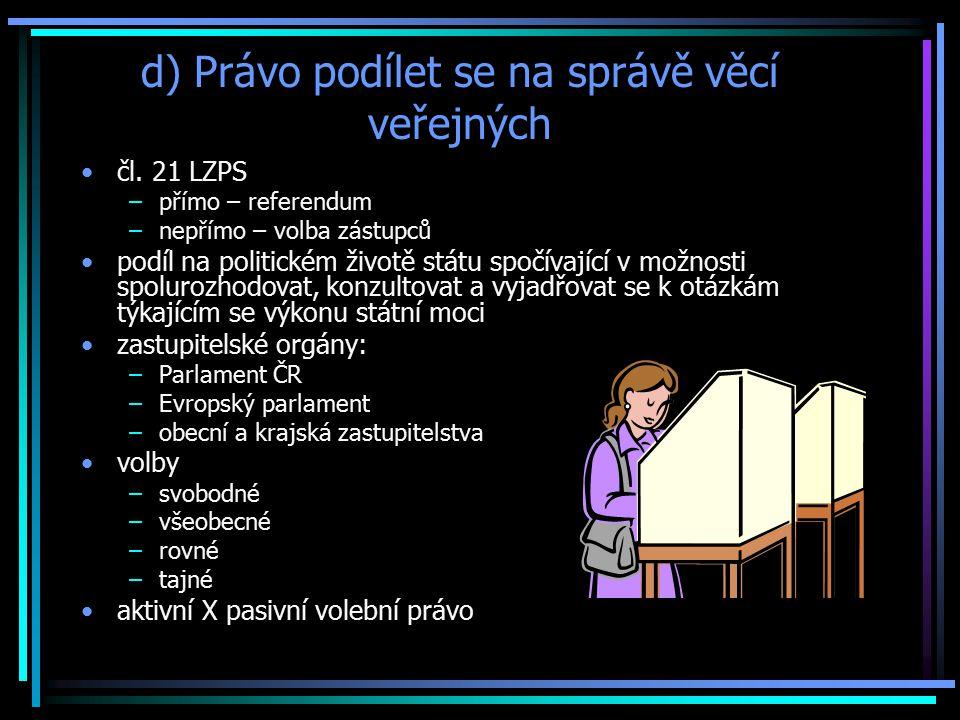 d) Právo podílet se na správě věcí veřejných čl.