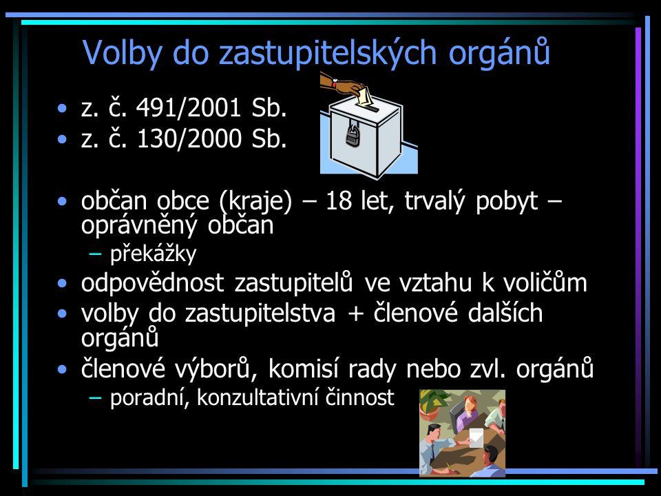 Volby do zastupitelských orgánů z.č. 491/2001 Sb.