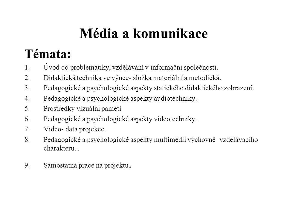 Média a komunikace Témata: 1.Úvod do problematiky, vzdělávání v informační společnosti. 2.Didaktická technika ve výuce- složka materiální a metodická.