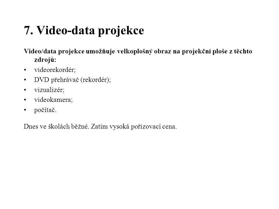 7. Video-data projekce Video/data projekce umožňuje velkoplošný obraz na projekční ploše z těchto zdrojů: videorekordér; DVD přehrávač (rekordér); viz