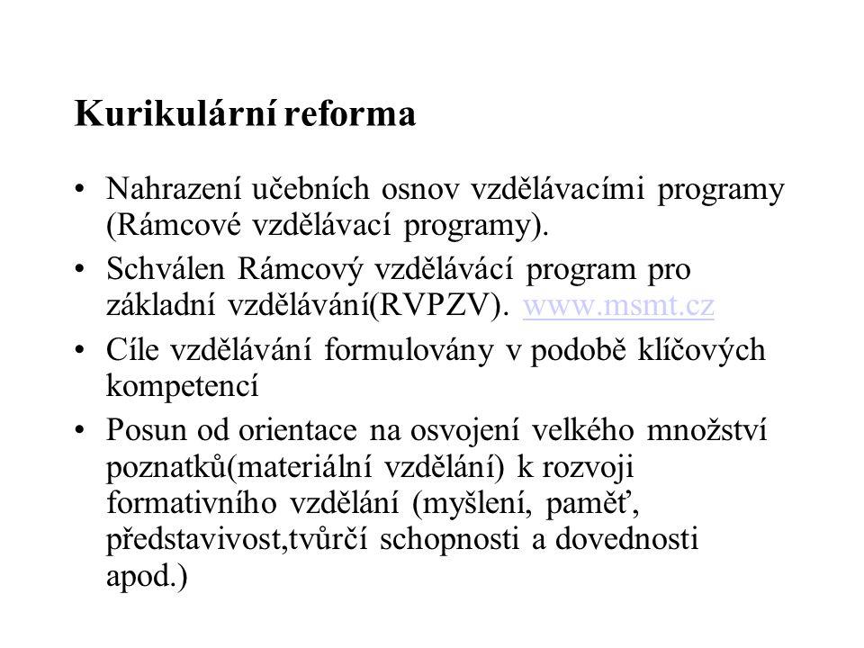 Kurikulární reforma Nahrazení učebních osnov vzdělávacími programy (Rámcové vzdělávací programy). Schválen Rámcový vzdělávácí program pro základní vzd