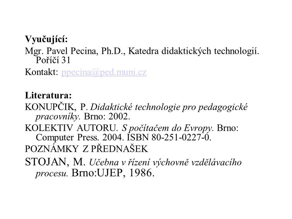 Vyučující: Mgr. Pavel Pecina, Ph.D., Katedra didaktických technologií. Poříčí 31 Kontakt: ppecina@ped.muni.czppecina@ped.muni.cz Literatura: KONUPČIK,