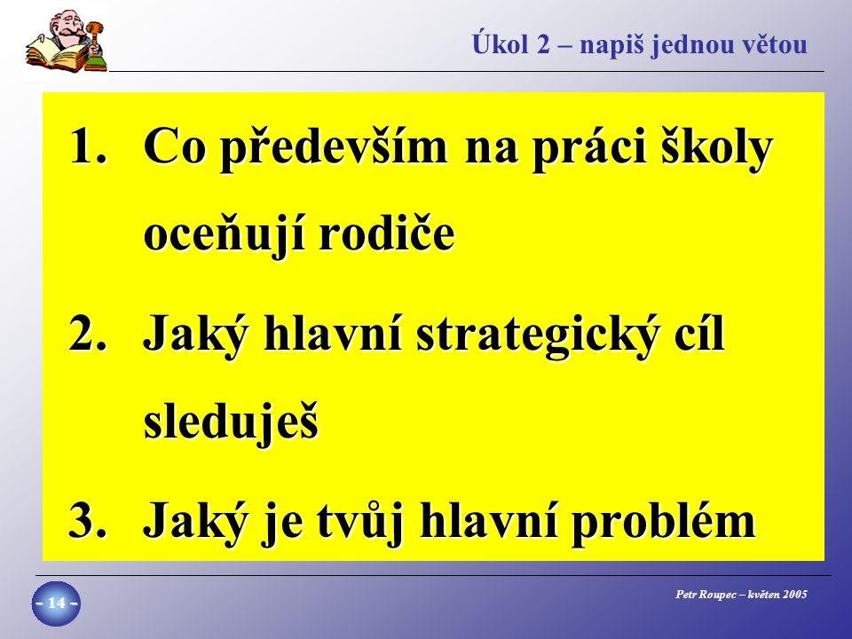 Petr Roupec – květen 2005 - 14 - Úkol 2 – napiš jednou větou 1.Co především na práci školy oceňují rodiče 2.Jaký hlavní strategický cíl sleduješ 3.Jaký je tvůj hlavní problém