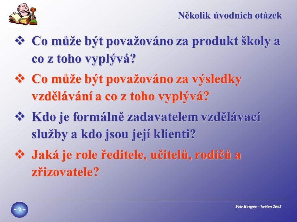 Petr Roupec – květen 2005 - 2 - Několik úvodních otázek  Co může být považováno za produkt školy a co z toho vyplývá.