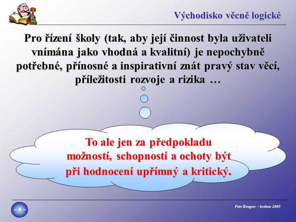 Petr Roupec – květen 2005 - 25 - Příklad rozdílů ve způsobu učení