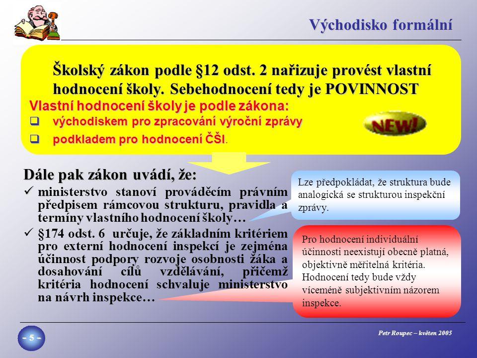 Petr Roupec – květen 2005 - 5 - Pro hodnocení individuální účinnosti neexistují obecně platná, objektivně měřitelná kritéria.