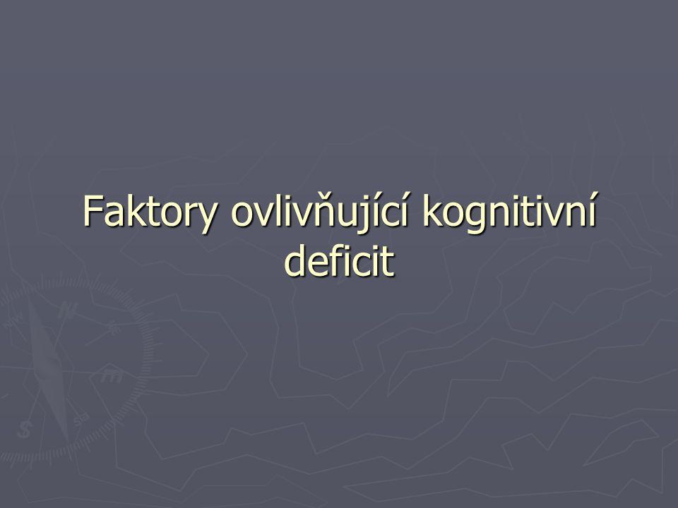 Subtypy a hloubka deprese ► Hloubka - souvislost mezi tíží deprese a zhoršeným kognitivním výkonem - souvislost mezi tíží deprese a zhoršeným kognitivním výkonem - značná metodologická nejednotnotnost - značná metodologická nejednotnotnost ► Subtypy - endogenní x exogenní - endogenní x exogenní - s psychotickými příznaky x bez psychotických příznaků - s psychotickými příznaky x bez psychotických příznaků