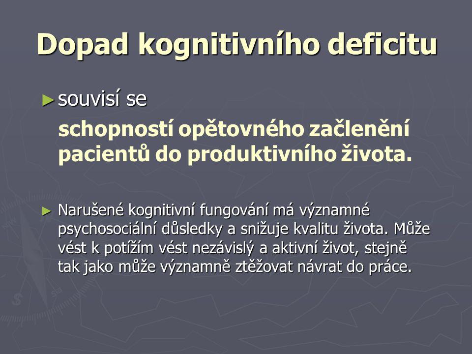 Dopad kognitivního deficitu ► souvisí se schopností opětovného začlenění pacientů do produktivního života. ► Narušené kognitivní fungování má významné