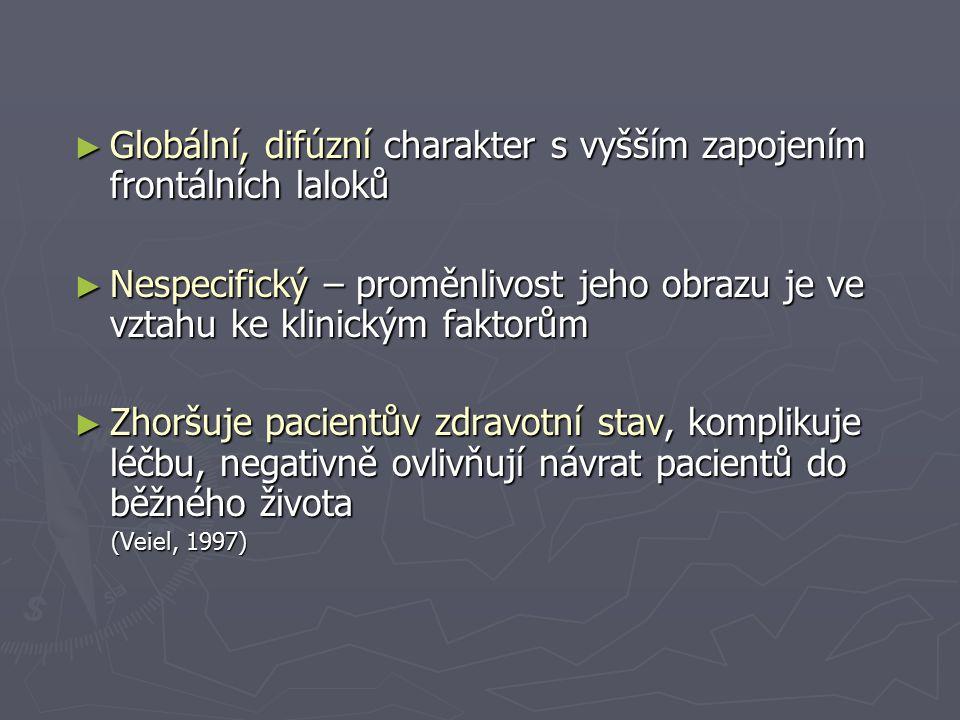 ► Globální, difúzní charakter s vyšším zapojením frontálních laloků ► Nespecifický – proměnlivost jeho obrazu je ve vztahu ke klinickým faktorům ► Zho