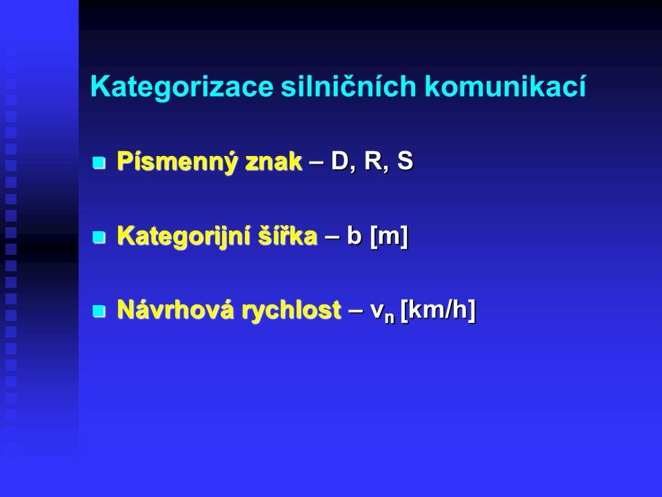 Kategorizace silničních komunikací Písmenný znak – D, R, S Písmenný znak – D, R, S Kategorijní šířka – b [m] Kategorijní šířka – b [m] Návrhová rychlost – v n [km/h] Návrhová rychlost – v n [km/h]