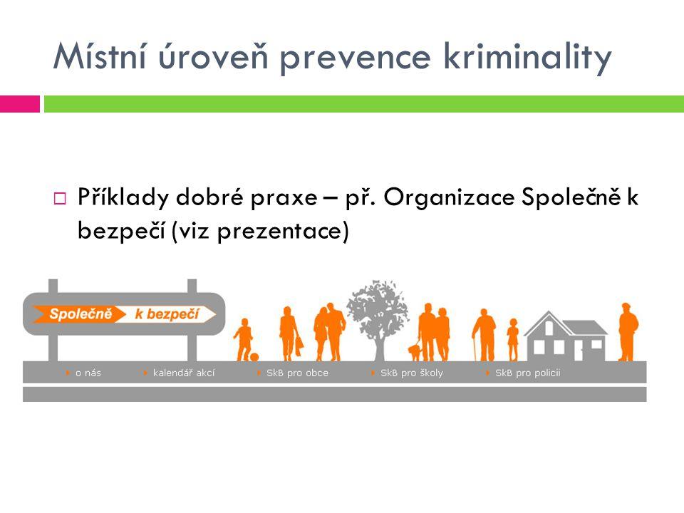 Místní úroveň prevence kriminality  Příklady dobré praxe – př. Organizace Společně k bezpečí (viz prezentace)
