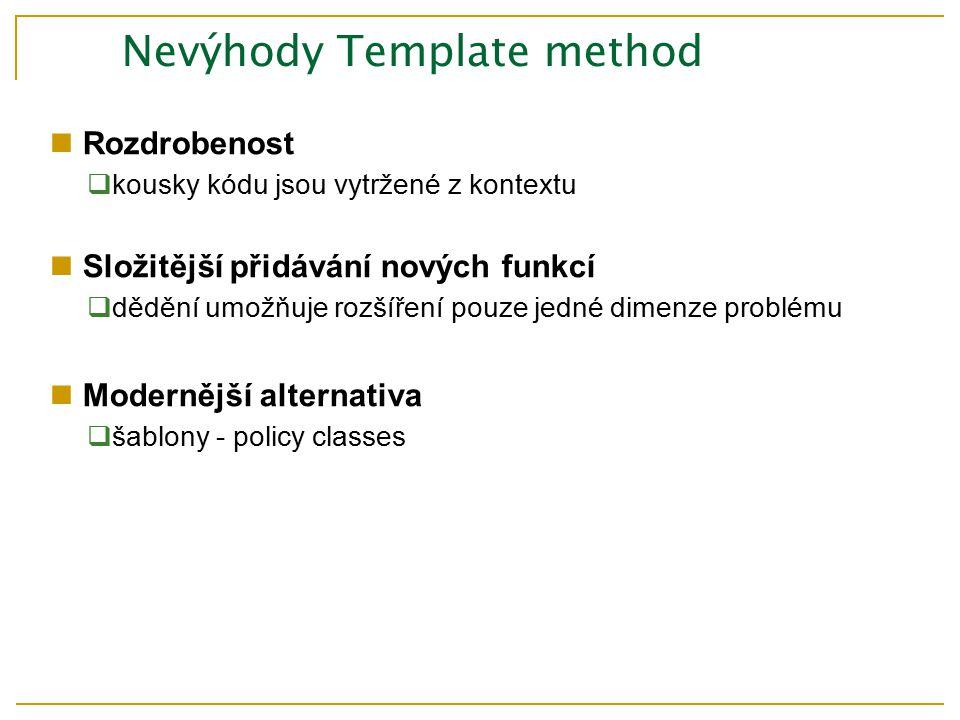 Rozdrobenost  kousky kódu jsou vytržené z kontextu Složitější přidávání nových funkcí  dědění umožňuje rozšíření pouze jedné dimenze problému Modernější alternativa  šablony - policy classes Nevýhody Template method