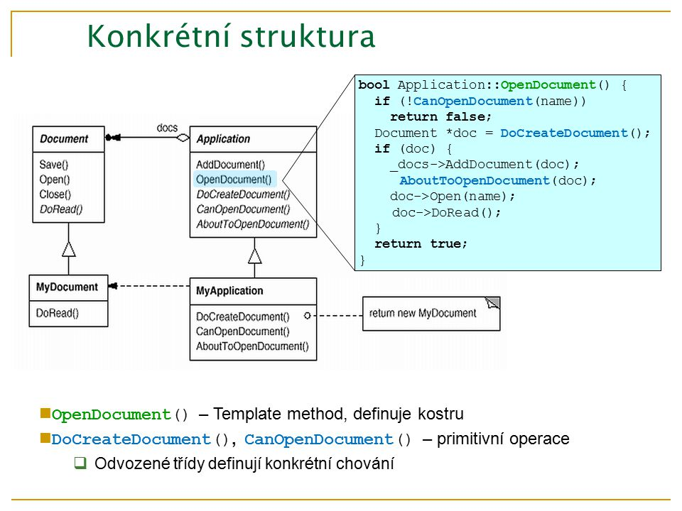 bool Application::OpenDocument() { if (!CanOpenDocument(name)) return false; Document *doc = DoCreateDocument(); if (doc) { _docs->AddDocument(doc); AboutToOpenDocument(doc); doc->Open(name); doc->DoRead(); } return true; } Konkrétní struktura OpenDocument() – Template method, definuje kostru DoCreateDocument(), CanOpenDocument() – primitivní operace  Odvozené třídy definují konkrétní chování