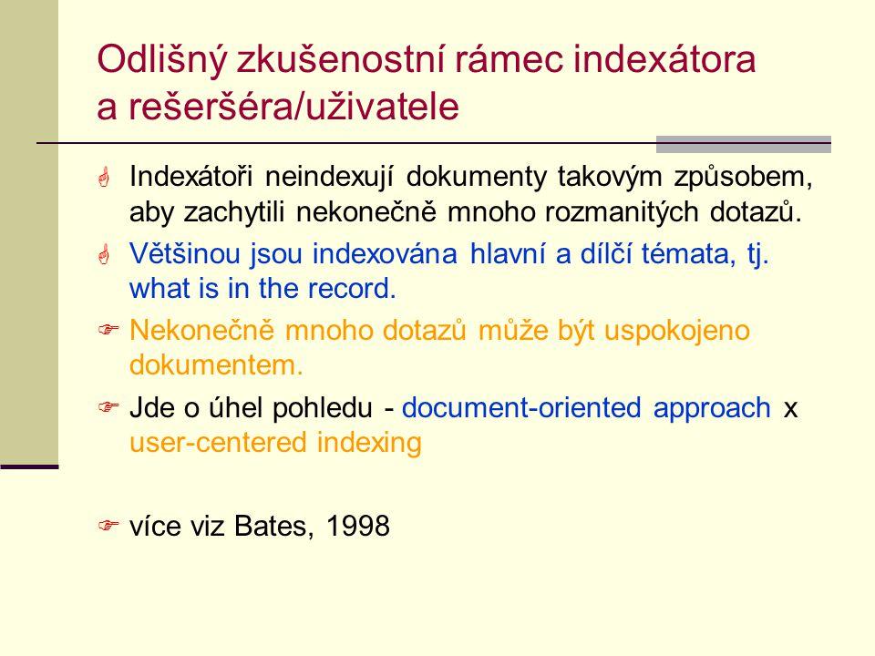 Odlišný zkušenostní rámec indexátora a rešeršéra/uživatele  Indexátoři neindexují dokumenty takovým způsobem, aby zachytili nekonečně mnoho rozmanitých dotazů.