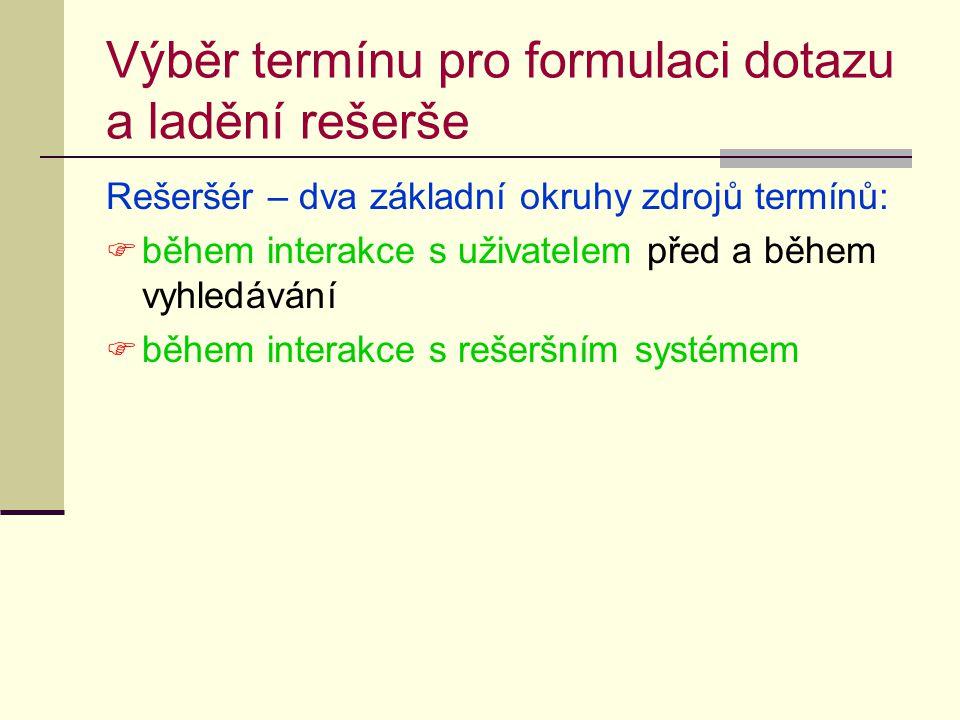 Výběr termínu pro formulaci dotazu a ladění rešerše Rešeršér – dva základní okruhy zdrojů termínů:  během interakce s uživatelem před a během vyhledávání  během interakce s rešeršním systémem