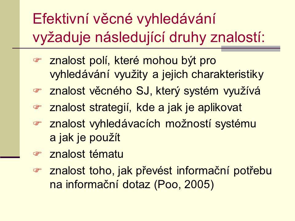 Selekční jazyk - usnadňuje vyhledávání tím, že  umožňuje kontrolovat synonyma a kvazisynonyma (tím zvyšuje úplnost - vyhledání relevantních informací v databázi) např.