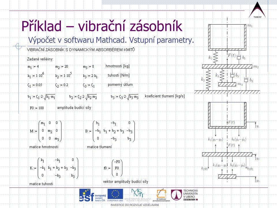 Příklad – vibrační zásobník Výpočet v softwaru Mathcad. Vstupní parametry.