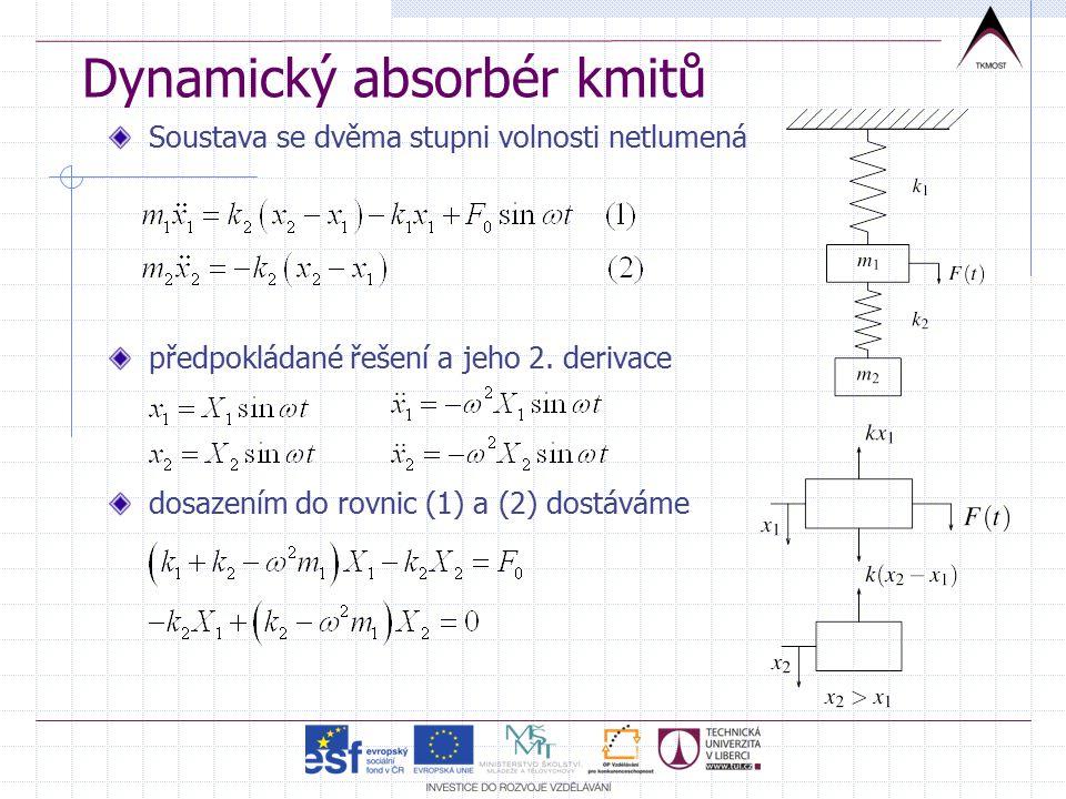 Dynamický absorbér kmitů Soustava se dvěma stupni volnosti netlumená předpokládané řešení a jeho 2.