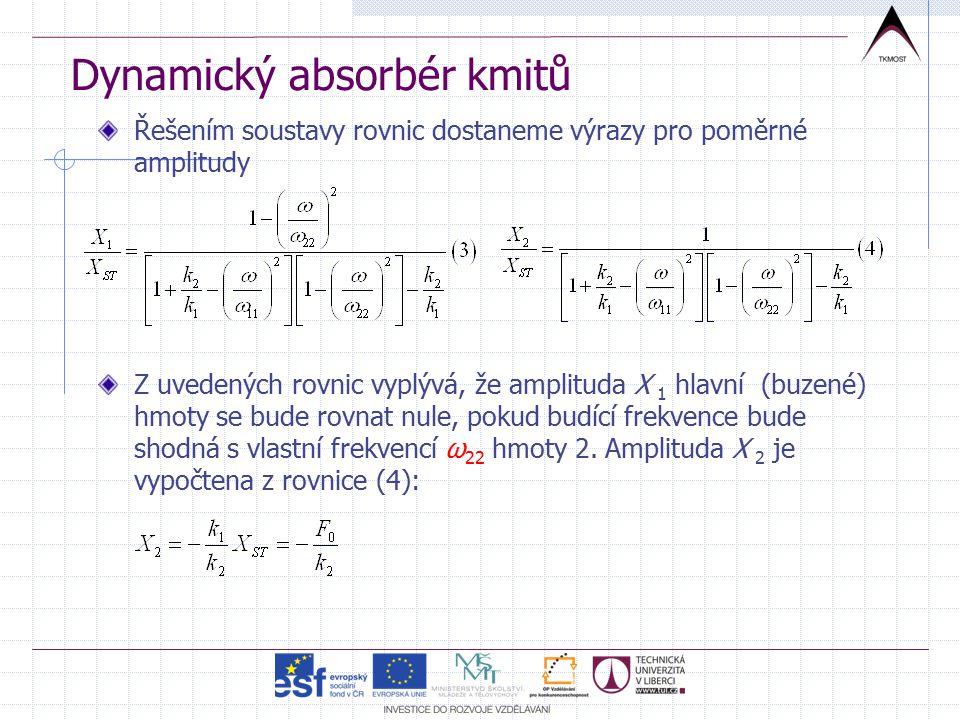 Dynamický absorbér kmitů Řešením soustavy rovnic dostaneme výrazy pro poměrné amplitudy Z uvedených rovnic vyplývá, že amplituda X 1 hlavní (buzené) hmoty se bude rovnat nule, pokud budící frekvence bude shodná s vlastní frekvencí ω 22 hmoty 2.