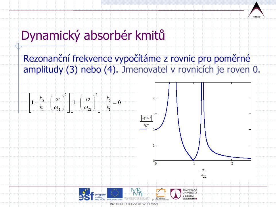 Rezonanční frekvence vypočítáme z rovnic pro poměrné amplitudy (3) nebo (4).