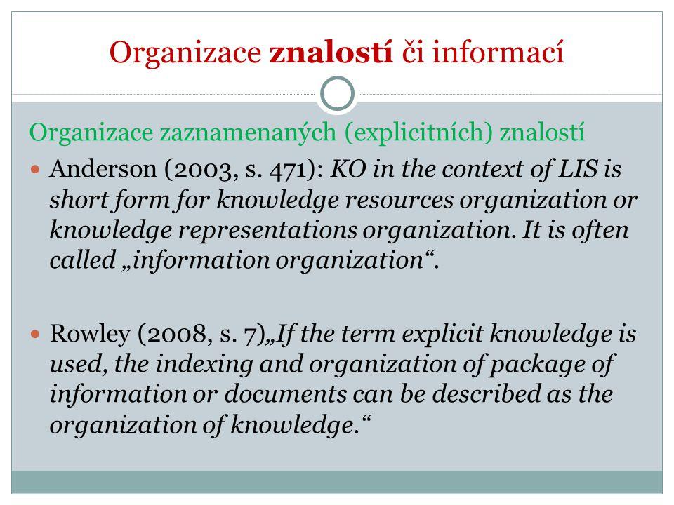 Organizace znalostí či informací Organizace zaznamenaných (explicitních) znalostí Anderson (2003, s. 471): KO in the context of LIS is short form for