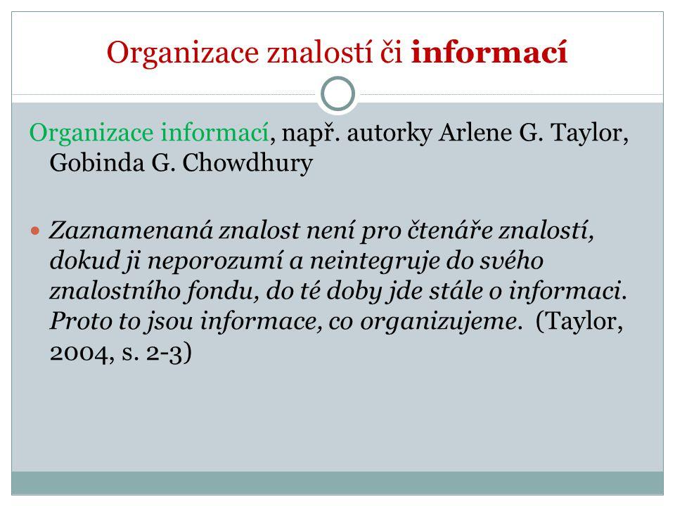 Organizace znalostí či informací Organizace informací, např. autorky Arlene G. Taylor, Gobinda G. Chowdhury Zaznamenaná znalost není pro čtenáře znalo